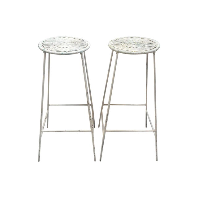 Iron & Wicker Bar Stools -- A Pair - Image 1 of 9