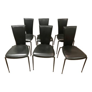 1990s Vintage Italian Sleek Modern Black Leather Dining Chairs by Arper- Set of 6 For Sale