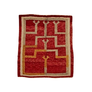 Deep Pile Turkish Konya Rug W/ Red White and Gold Circa 1920s
