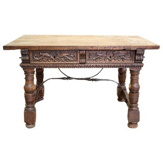 18th Century Rustic Writing Desk With Iron Supports For Sale