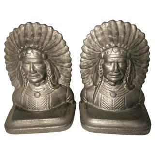 Native American Chief Bookends - a Pair For Sale