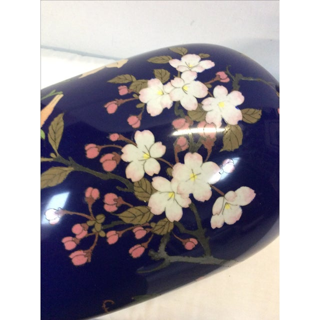 Blue Japanese Cloisonné Lamp For Sale - Image 10 of 11
