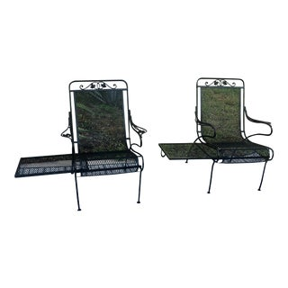 1940s Vintage Wrought Iron Hollywood Regency Black Salterini Patio Chairs-a Pair For Sale