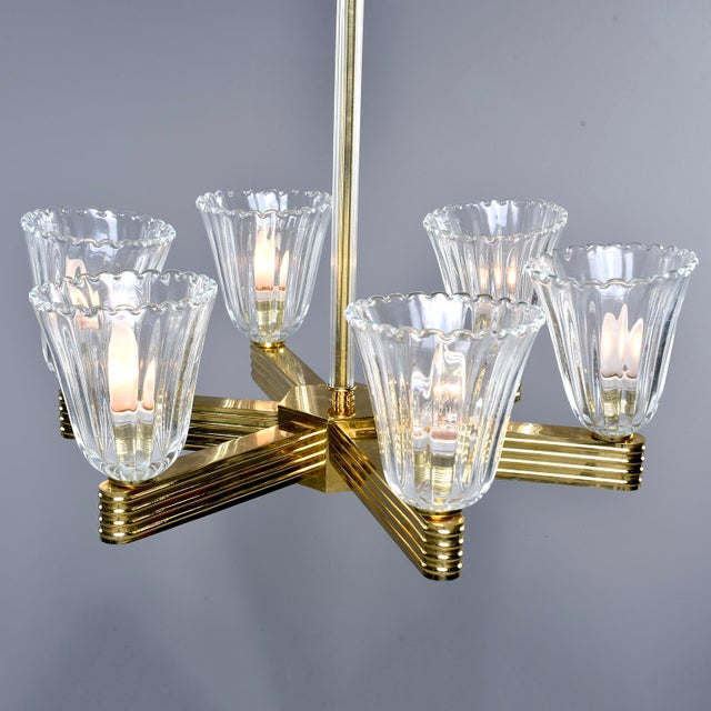 1930s Ercole Barovier and Toso Six Light Brass Chandeliers - a Pair For Sale - Image 5 of 13