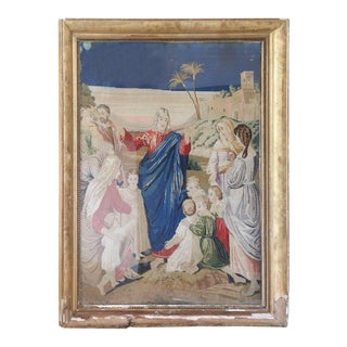 18th C. Framed Religious Embroidery Wall Art