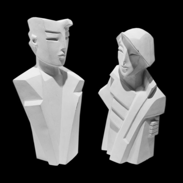 Karin Swildens White Deco Man and Woman Cast Sculptures For Sale - Image 13 of 13