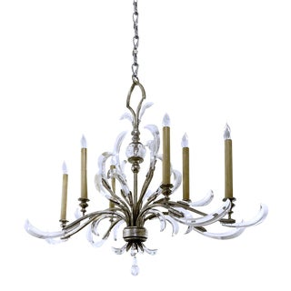 Vintage 1970s Oblong Silver Leaf Crystal and Acrylic Chandelier, Italian For Sale
