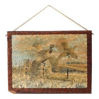 Vintage Pheasant Art Print on Wood For Sale