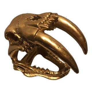 Medium Hand Painted Gold Faux Animal Skull