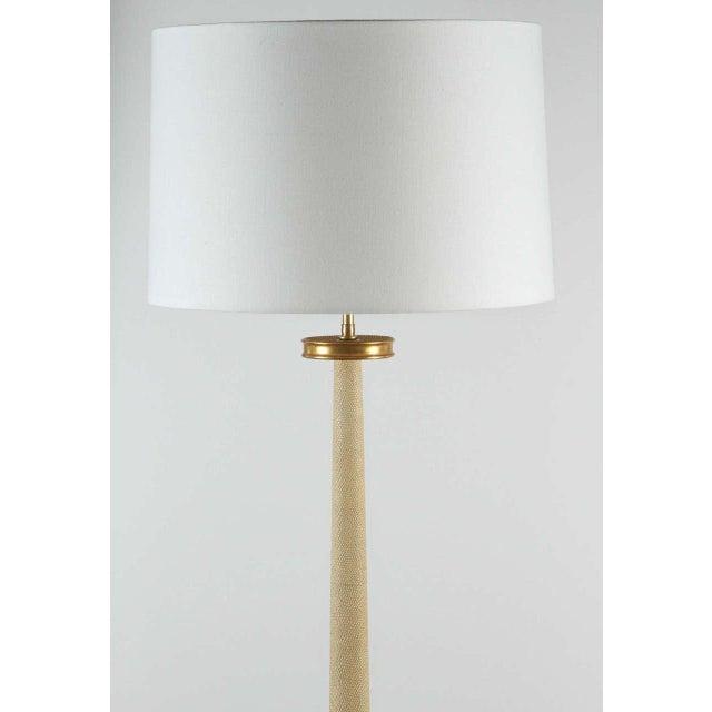 Paul Marra Paul Marra Elegant 1940s Inspired Cream Faux Shagreen Floor Lamp For Sale - Image 4 of 10
