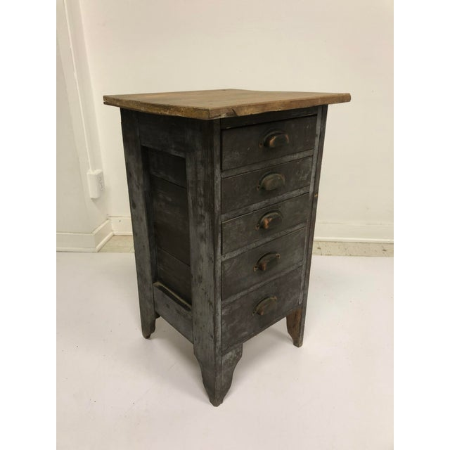 1930s Vintage Industrial Wood 5 Drawer Vertical File Cabinet For Sale - Image 5 of 13