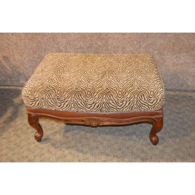 Ethan Allen Multi Fabric Oversized Chair & Ottoman For Sale - Image 11 of 13