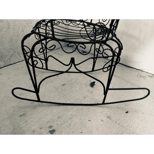 Wrought Iron Peacock Rocking Chair For Sale - Image 9 of 11
