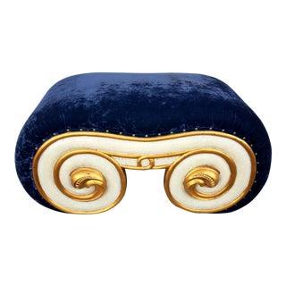 1970's Karl Springer Style Crushed Blue Velvet Bench For Sale