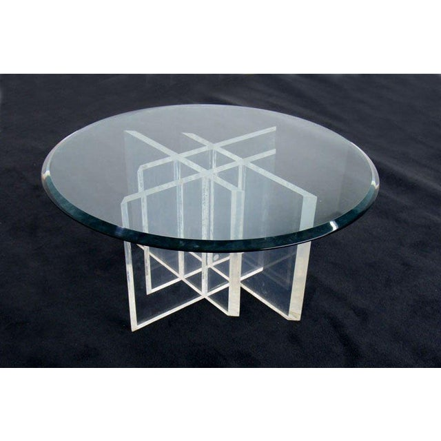 4c7896b80894 Mid-Century Modern Lucite Base Glass Top Round Mid Century Modern Coffee  Table For Sale