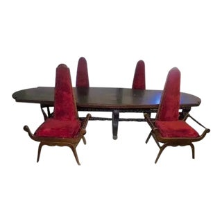 Antique Lodge Victorian Gothic Table & Carved Throne Chairs - Set of 5 For Sale