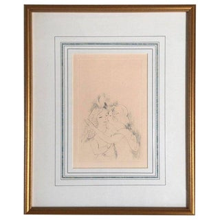 "Marie Laurencin Etching Titled ""Two Girls Kissing"" For Sale"