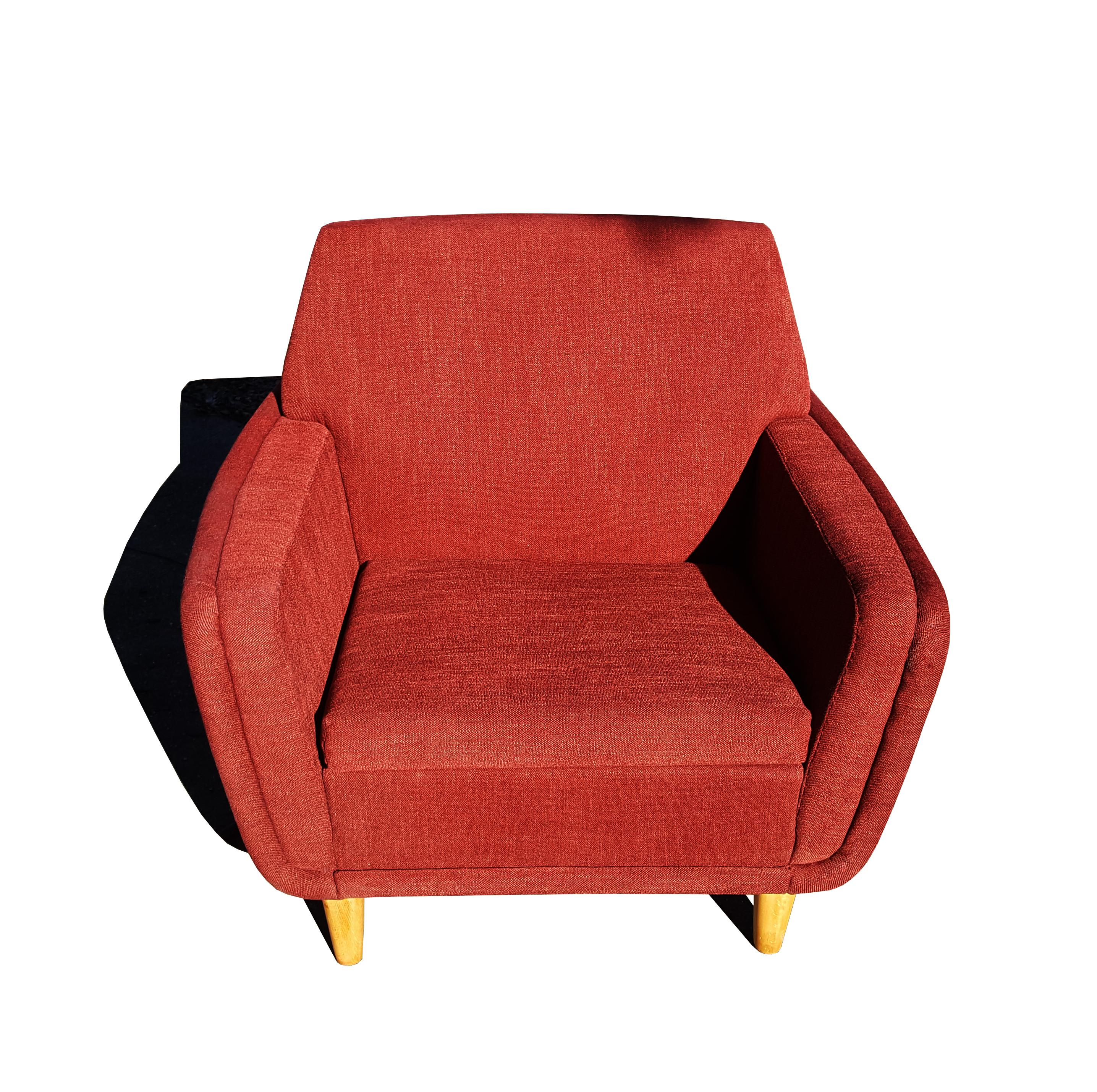 Scandinavian Mid Century Modern Folke Ohlsson For Dux Red Lounge Chair /  Club Chair