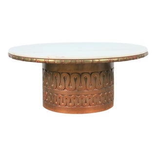 Gold Hollywood Regency Rounf Coffee Table For Sale