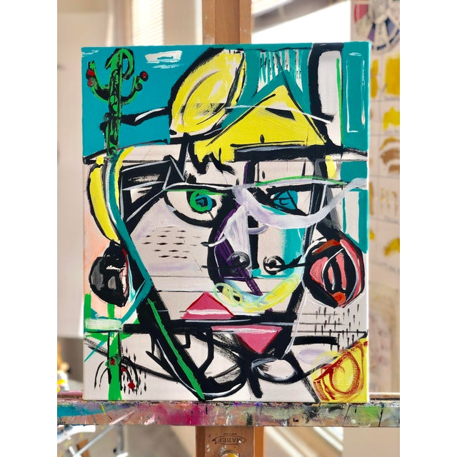 Ken In Palm Springs a modern painting by JJ Justice. Faces taken from actual photo images and abstracted. Painting can be...