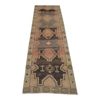 "1960's Vintage Turkish Hand-Knotted Runner-3'6"" X 11'8"" For Sale"