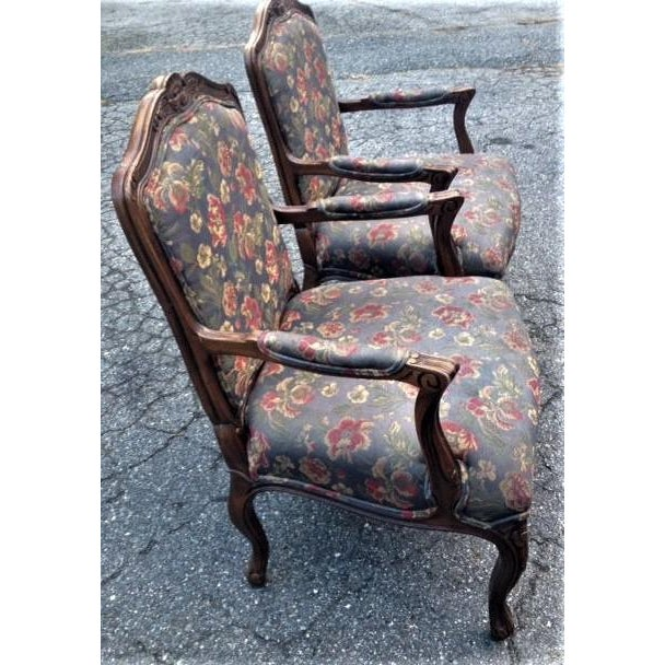 Late 20th Century 20th Century French Provincial Louis XV Style Armchairs - a Pair For Sale - Image 5 of 13