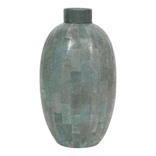 Mid Century Modern Shagreen Vase For Sale