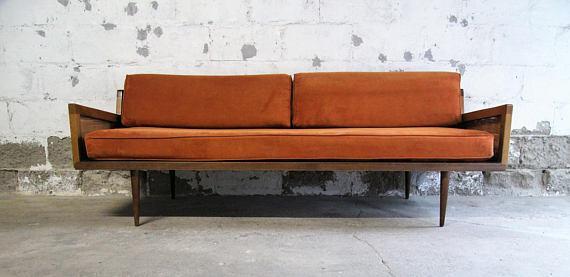 Beau Mid Century Modern Danish Modern Walnut U0026 Cane Daybed Sofa For Sale   Image  5