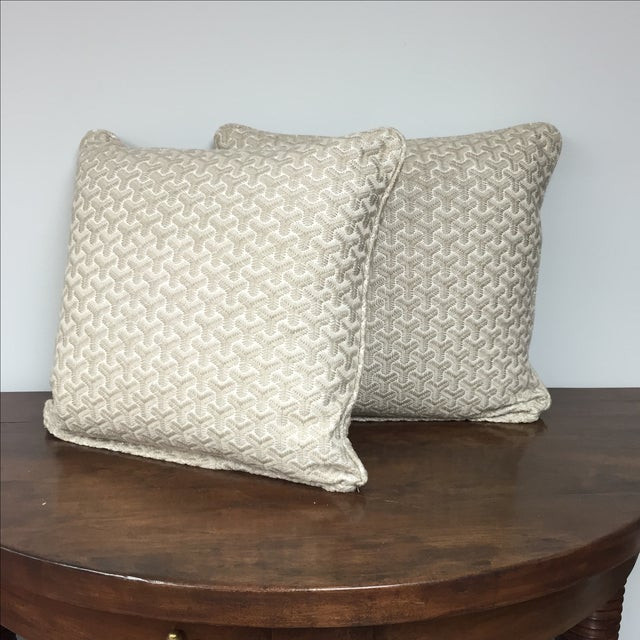 Pair of down blend pillows in a gray geometric embroidered pattern. New/showroom sample.