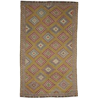 Flat Weave Kelim Multicolor Wool Rug - 6′9″ × 11′5″ For Sale
