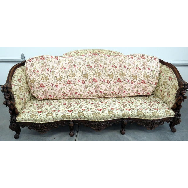Brown Carved Victorian Sofa For Sale - Image 8 of 9