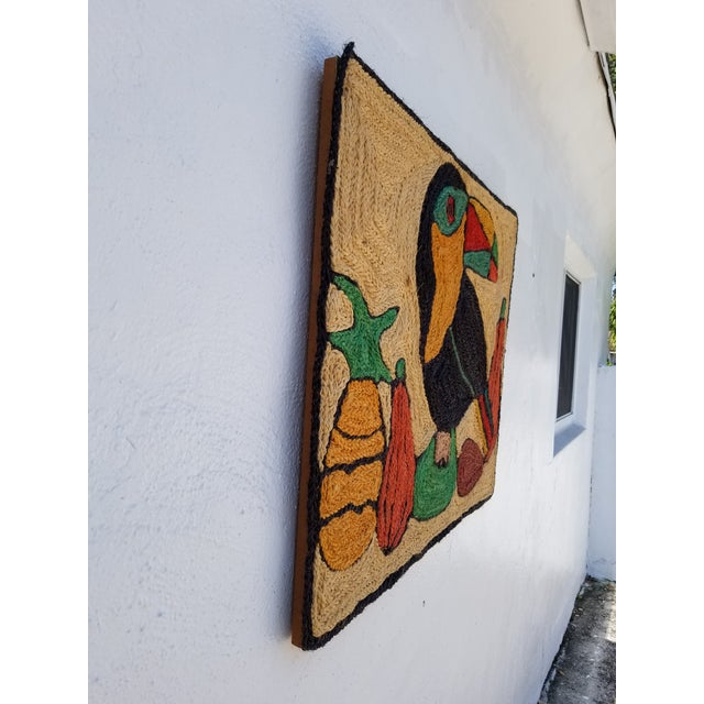 Green 1970s Mid-Century Modern Hand-Woven Sign of Alexander Calder Era Toucan With Fruit Tapestry For Sale - Image 8 of 9