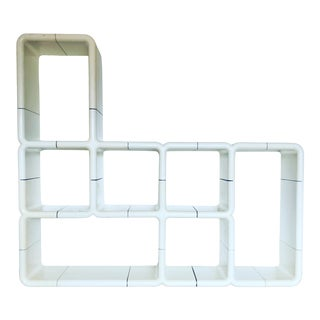 1970s Space Age Modern White Umbo Modular Shelving System For Sale