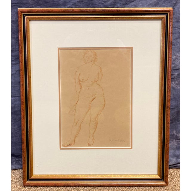 """""""Standing Nude"""" Hand Wash Drawing by Raphael Soyer For Sale - Image 13 of 13"""