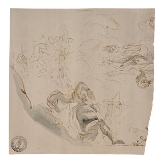 Fragment of an 18th Century Old Master Drawing With Collectors Stamp For Sale