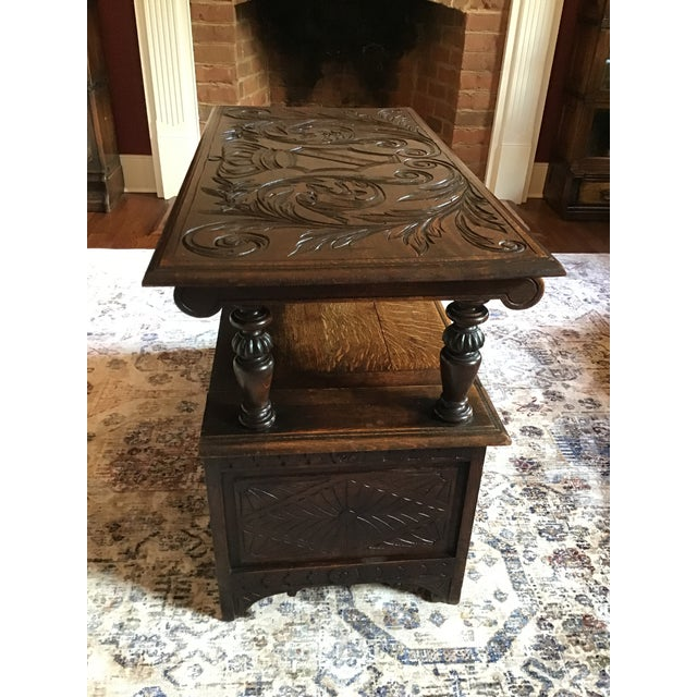 Late 19th Century Antique Brown Monks Bench For Sale - Image 10 of 13