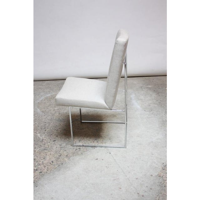 Set of Six Milo Baughman 'Thin Line' Chrome Dining Chairs - Image 9 of 11