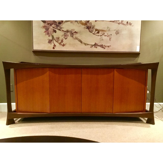 INV# 9299.Z Gorgeous two toned wood sideboard/ console in oak, mahogany legs, adjustable shelf and four draws, showroom...