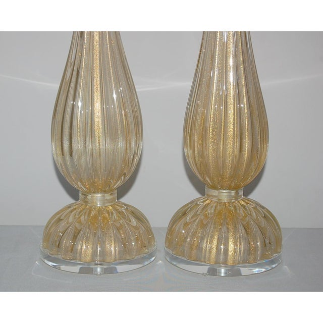 Vintage Murano Glass Table Lamps Gold For Sale In Little Rock - Image 6 of 10