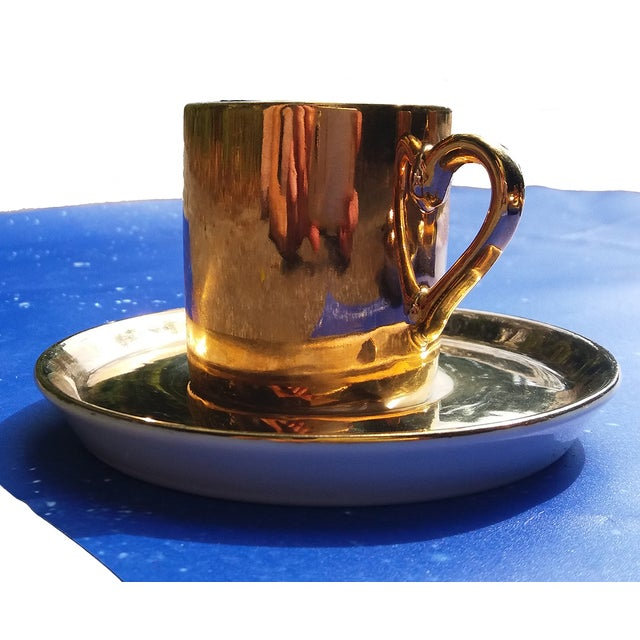 Gold Coffee Cups With Saucers - Set of 4 - Image 5 of 5