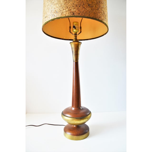 Metal 1960s Walnut and Brass Table Lamp With Vintage Cork Shade For Sale - Image 7 of 10