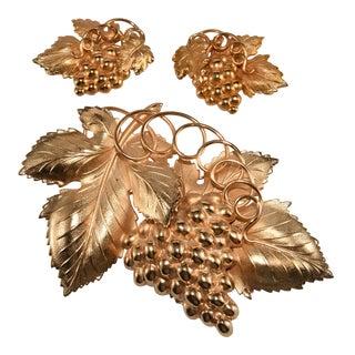 "Napier 5"" Brooch Earrings Set Grapes Leaves For Sale"
