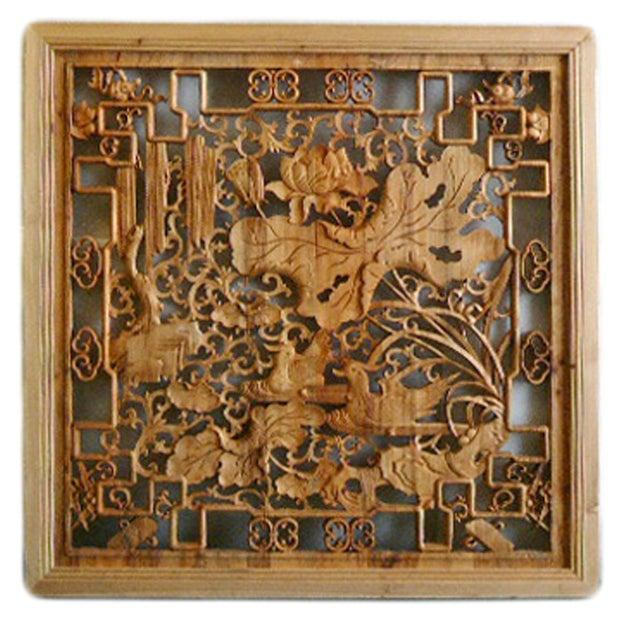 Lotus & Birds Wood Wall Plaque - Image 1 of 5