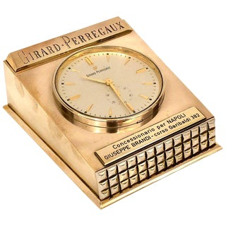 Girard Perregaux Solid Brass Case Table/Desk Electromechanical Clock For Sale