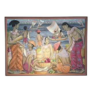 "Dewa Putu Bedil (b. 1921) ""Market by the Sea"", Ubud, Bali, mid 20th century For Sale"