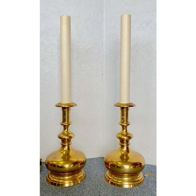 Traditional 1960s Vintage Brass Bottle Lamps - a Pair For Sale - Image 3 of 9