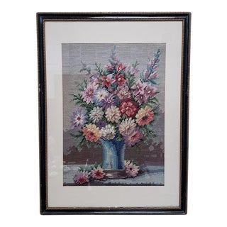 Victorian Period Floral Bouquet Needlepoint C.1900 For Sale