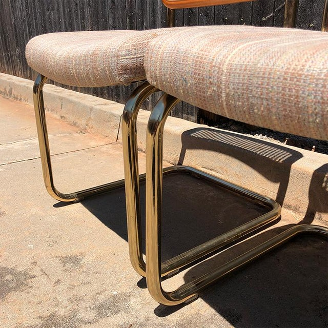 1980s Vintage Cantilever Cane Marcel Breuer Style Tubular Dining Chairs Upholstered Seats Set of 6 For Sale - Image 11 of 13
