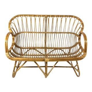 1970s Vintage Woven Rattan and Cane Loveseat For Sale