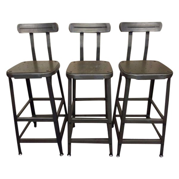 Industrial Steel Bar Stools - Set of 3 - Image 1 of 6